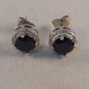 18K White Gold Blk Onyx Topaz Zircon Stud Earrings
